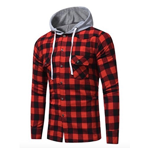 Neal LINK Men's Soft Long Sleeve Flannel Plaid Checker Flannel Hood Button Down Shirt Top (Red, US Size L(Lable Size 3XL)) (Shirt Plaid Red L/s)