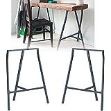 Set of 2 Industrial Look Durable Steel Crosscut Trestle Legs for Table , Desk or Workstation , Dark Gray