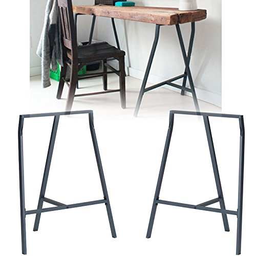 Set of 2 Industrial Look Durable Steel Crosscut Trestle Legs for Table , Desk or Workstation , Dark Gray (Legs Sawhorse)