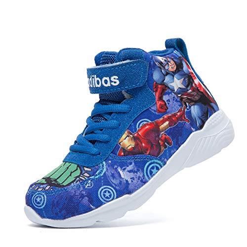 ROKIDS Kids Boys Girls Cartoon Avengers High Top Sneakers Captain America, Iron Man, Hulk (Blue 9.5 Little Kid)