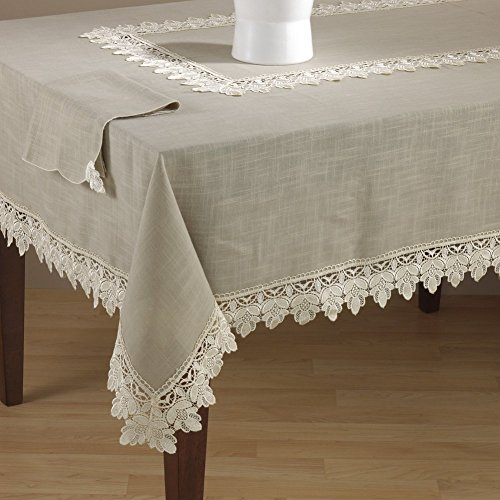 Fennco Styles Venetto Lace Trimmed Elegant Tablecloth, Taupe Color, (65''x180'' Rectangular) by fenncostyles.com
