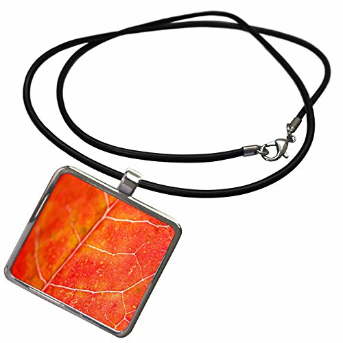 3dRose Yves Creations Colorful Leaves - Orange Leaf - Necklace With Rectangle Pendant (ncl_36747_1)