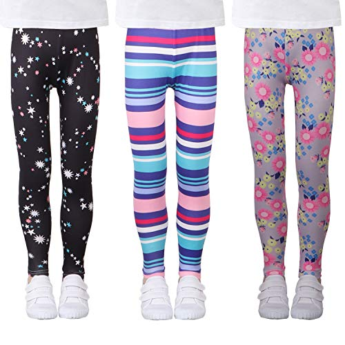 LUOUSE Girls Stretch Leggings Tights Kids Pants Plain Full Length Children Trousers, Age 2-13 ()