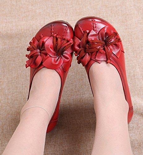 ... Soojun Mocassins En Cuir Pour Femme Chaussures Plates Slip-ons Avec  Fleur Rouge 4a16df7f5982