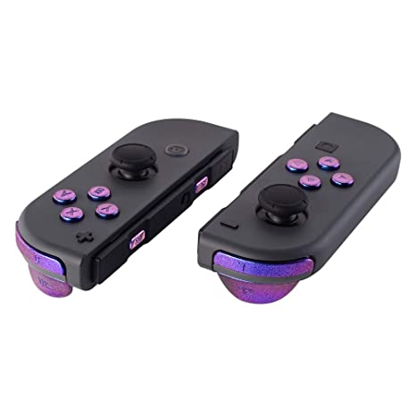 eXtremeRate Purple Blue Chameleon Glossy Replacement ABXY Direction Keys SR  SL LR ZR ZL Trigger Buttons and Springs, Full Set Buttons with Tools for