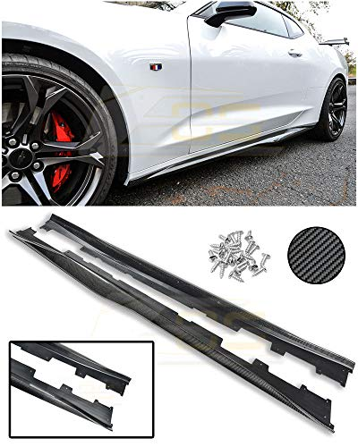 Extreme Online Store Replacement for 2016-2018 Chevrolet Camaro | ZL1 Style Carbon Fiber Rocker Panel Side Skirts Extension SS-160-BKCF ()