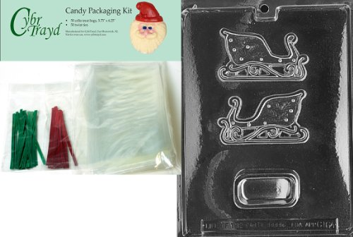 Christmas Sleigh Box - Cybrtrayd MdK50C-C164 Sleigh Pour Box Christmas Chocolate Mold with Chocolate Packaging Kit and Molding Instructions, Small, Includes 50 Cello Bags, 25 Red and 25 Green Twist Ties