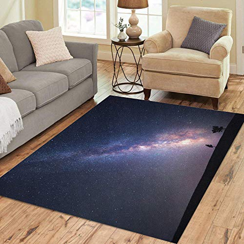 (Semtomn Area Rug 5' X 7' Blue Adventure Milky Way Beautiful Summer Night Sky Stars Home Decor Collection Floor Rugs Carpet for Living Room Bedroom Dining Room)