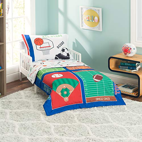 (EVERYDAY KIDS 4 Piece Toddler Bedding Set -Varsity Sports: Football, Baseball, Basketball and Soccer- Includes Comforter, Flat Sheet, Fitted Sheet and Reversible Pillowcase)
