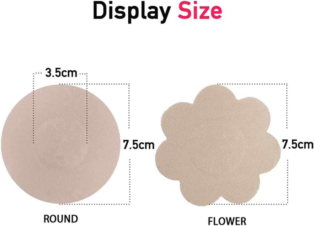 12 Pairs Waterproof Washable Self Adhesive Breast Pasties Petals Covers Disposable Invisible Tape Flower Round Shaped Concealer Pads VicSec Fabric Reusable Nipple Cover Sticker