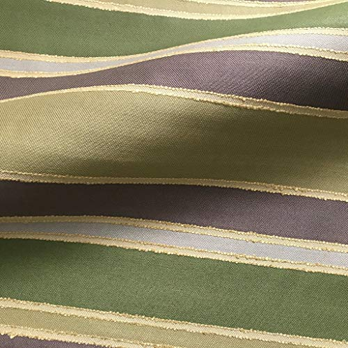 Multicolored Green, Brown, Grey & Beige Striped - Upholstery Stripe White Fabric