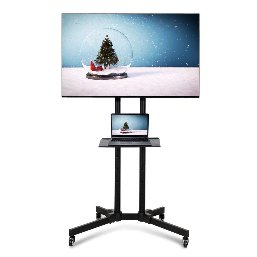 Adjustable TV Stand Mobile Durable Black Cart Mount Wheels for Plasma LED Flat Screen 32-70''