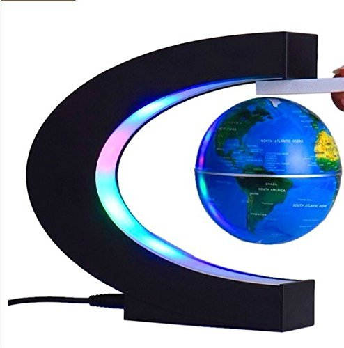 Floating Globe with Colored LED Lights 3 World Map Earth Planet Magnetic Anti Gravity Levitation Levitating C Shaped Ball Office Desk Decoration Home Decor Kids Educational Gift Blue (Levi-Magic)