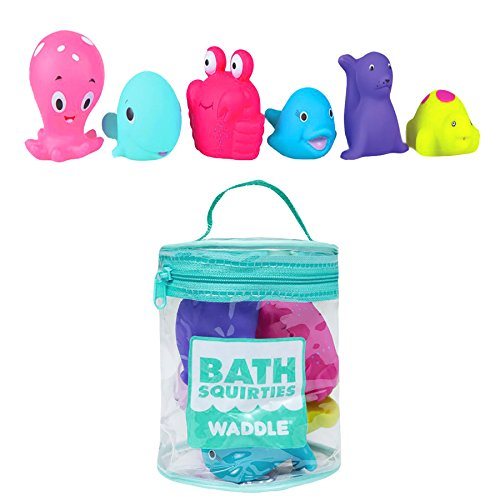 Waddle 6 Pack Bath Toys Ocean Bath Squirters Sea Turtle Dolphin Whale and More