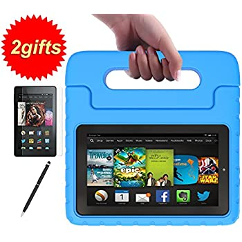 SUPLIK Kid-Proof Handle Stand Cover Case with Screen Protector and Stylus for Amazon All-New Fire 7 2017 7th Generation or Fire 7 2015 5th Generation - Blue