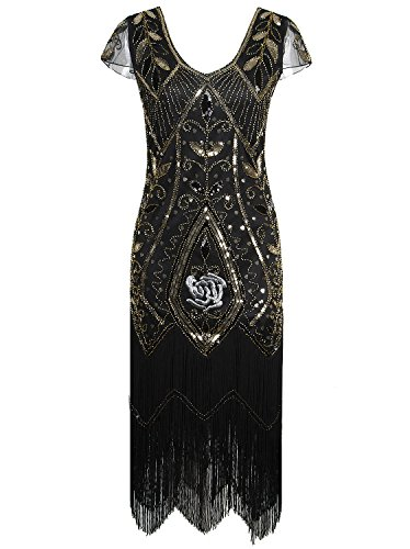Shoes 1920 Flapper (Vijiv 1920s Gatsby Sequin Embellished Fringe Cocktail Flapper Dress with Sleeves Black Gold)