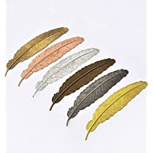 EKLOEN 6pcs Different Color Vintage Feather Metal Bookmarks Book Marker for School Supplies Stationery Gift