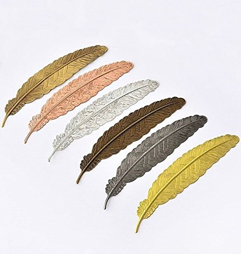 EKLOEN 6pcs Different Color Vintage Feather Metal Bookmarks Book Marker for School Supplies Stationery Gift by EKLOEN (Image #7)