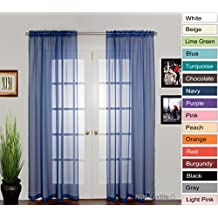 "NIM Textile Elegant Sheer Voile Curtains Panels, Rod Pocket Top, 110""W x 96""L, 2 Panels Set, Navy, Love Inn Collection"