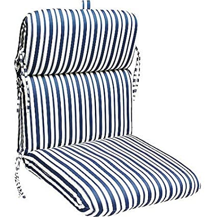 Amazon Com Deluxe Stripe Chair Cushion Multiple Patterns Navy And