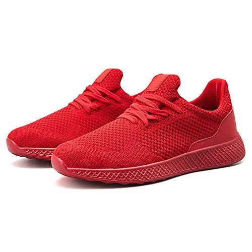 Scarpe Uomo Con Lacci Corsa Il Sneakers Leggere Da Sportive Traspiranti Piatte Alikeey Rosso Tempo Libero Per Sqw4w