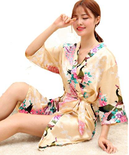Kenmont Mujer Pavo & Flores Albornoces Pijamas Estampado Floral Camisón Ropa de Dormir para Casa Cama Beige