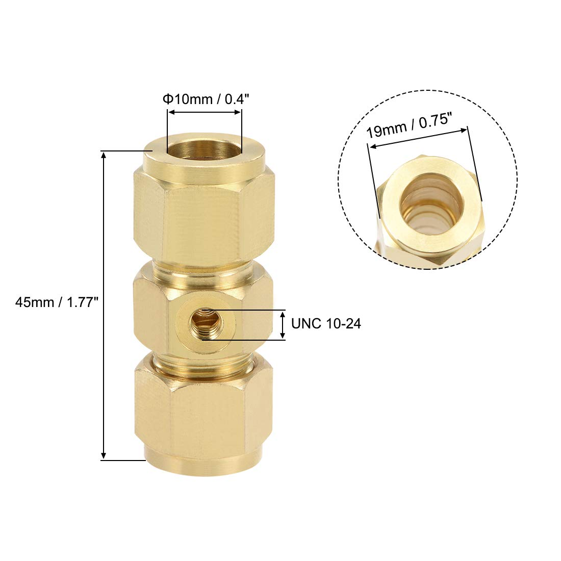 uxcell Brass Compression Tube Fitting 10mm OD Straight UNC 10-24 Thread Nozzle Hole Pipe Adapter for Water Garden Irrigation System