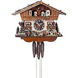 German Cuckoo Clock 1-day-movement Chalet-Style 11.50 inch - Authentic black forest cuckoo clock by Hönes