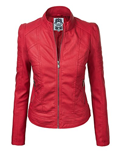 Red Motorcycle Leather Jacket - 3