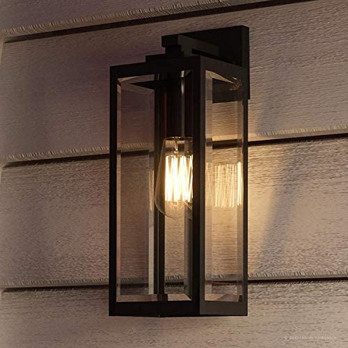 Luxury Modern Farmhouse Wall Sconce, Medium Size 17.00 H x 6.00 W, with Industrial Style Elements, Natural Black Finish, UQL1331 from The Quincy Collection by Urban Ambiance
