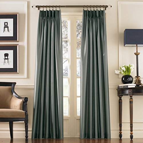 Curtainworks marquee faux silk pinch pleat curtain panel 30 by 95 teal home garden decor - Epic window treatment decoration with slate blue curtain ...