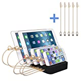 Puloa 5 Port USB Charging Station Dock With Charge Cables Detachable Universal USB Stand Organizer for Smart Phones & Tablets & Other Gadgets Multiple USB Charger Station & Cell Phone Docking Station