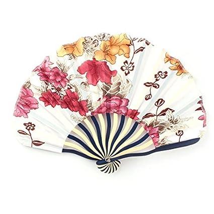 eDealMax Marco Impresa Flor de bambú Señora Concha en Forma de Mano de Verano plegable ventilador