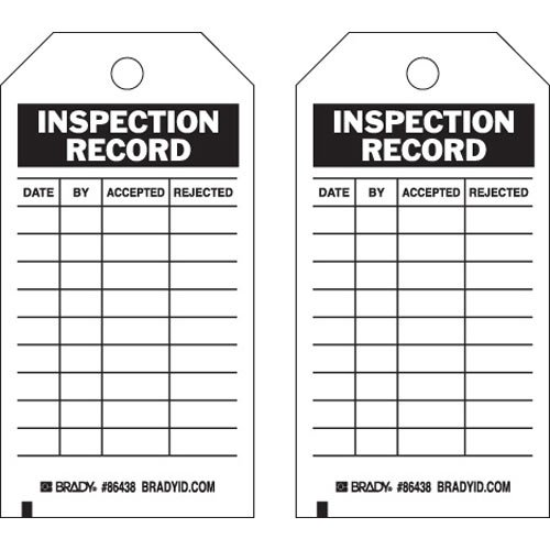 Brady 86438, Inspection and Material Control Tag, (12 Packs of 10 pcs) by Brady