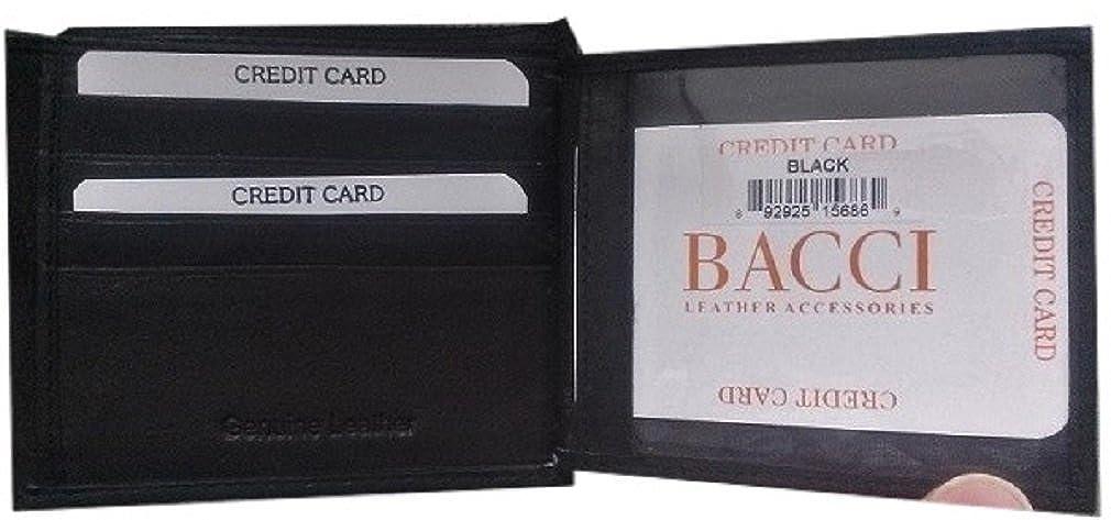 Mens GENUINE SOFT Real LEATHER Black Bi-fold WALLET 2 ID FLAPS 16 Credit Card Slots