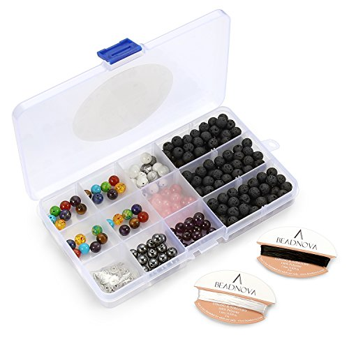 BEADNOVA 8mm Lava Stone Gemstone Round Loose Beads for Jewelry Making (Box Set Assortment) (Hematite Necklace And Earring Set)