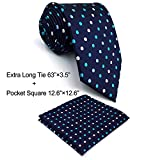 Shlax&Wing Polka Dots Blue Neckties Men Ties Silk Business Extra Long 63''
