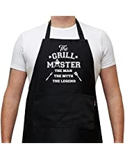 Savvy Designs BBQ Apron Cooking Kitchen Funny Apron - The Grill Master, The Man The Myth The Legen - Black Apron With Pockets