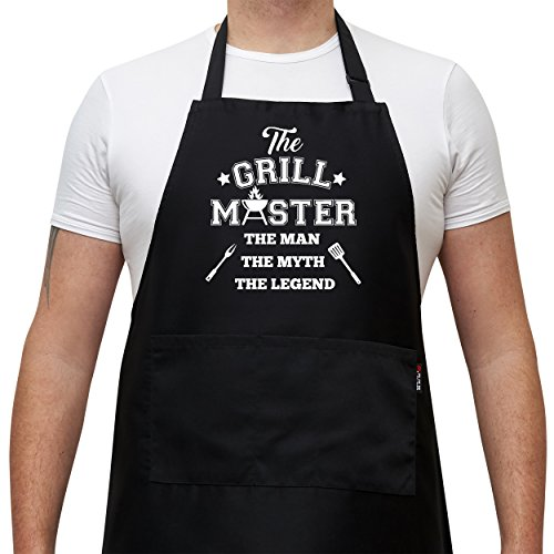 Savvy Designs BBQ Aprons for Men Cooking Kitchen Funny Apron - The Grill Master, The Man The Myth The Legend - Adjustable, Black with Pockets