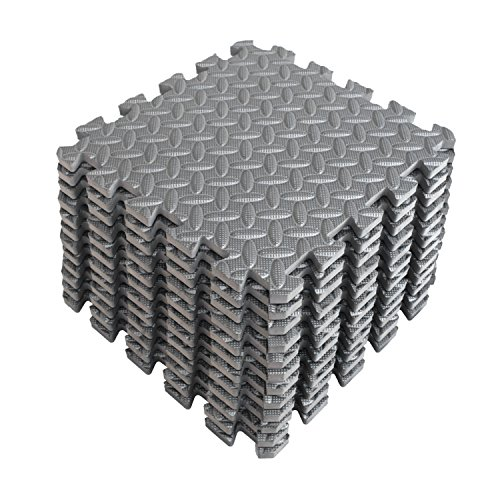 ise Mat with EVA Foam Interlocking Tiles (Protective Flooring) 3 Year Limited Warranty with 60 Days Free Return - Perfect for Home Gym, Aerobic, Yoga & Pilates (Gray - 12pcs) ()