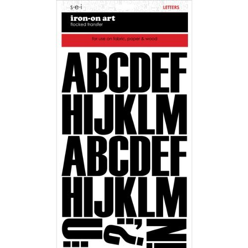 S·E·I Sei Block Iron on Transfer Letters (Black, 2 Inch)]()