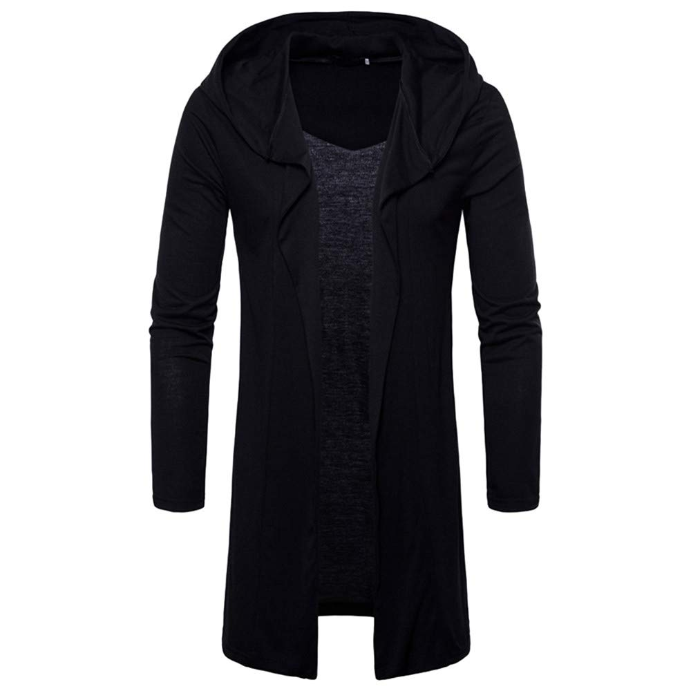 Coat For Men, Clearance Sale! Pervobs Mens Casual Solid Long Sleeve Hooded Trench Long Coat Jacket Cardigan Outwear(XL, Black)