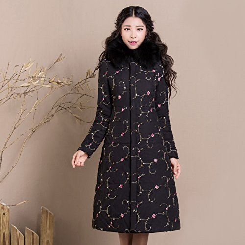Jacket Long S DYF Women Pocket Lapel Artificial Lace length sleeve Zipper Medium Coat g7Z5c5WBq