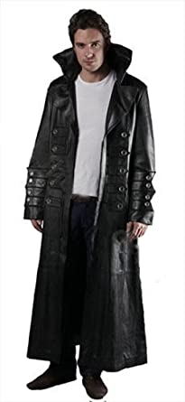 Real Long At Mens Leather Coat Matrix Black Trench Goth Sexy Gothic 1wqI5