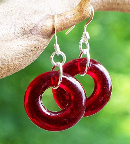 - Recycled Vintage World Warr II Era Red Beer Bottle Glass Hoop Earrings