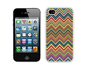 Apple Iphone 4s Case Durable Soft Silicone TPU Colorful Chevron Designer White Cell Phone Case Cover for Iphone 4