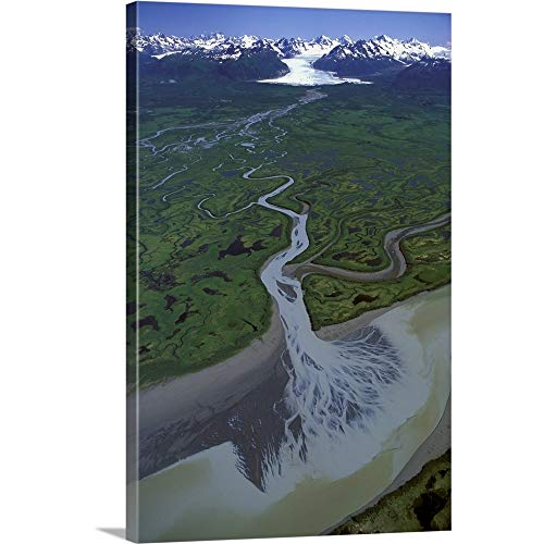 (GREATBIGCANVAS Gallery-Wrapped Canvas Entitled Aerial of Ibeck Creek and Scott Glacier, Copper River Delta, Southcentral Alaska by Jim Wark)