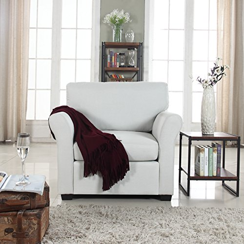 Classic and Traditional Linen Fabric Accent Chair – Living Room Armchair (Beige)