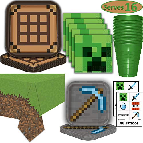 Minecraft Party Supplies for 16 - Dinner Plates, Dessert Plates, Napkins, Cups, Tablecloth, Tattoos - Pixel Mining Theme Birthday Tableware and Favors]()