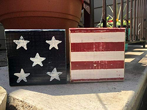 4th Of July Signs (4th of July American Flag Wood Blocks/Americana Decor/American Flag)
